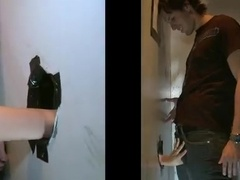 A girl shows her gayish BF how to suck a dick through a gloryhole