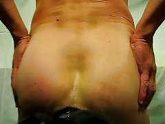 Giant dildo fucks me from behind