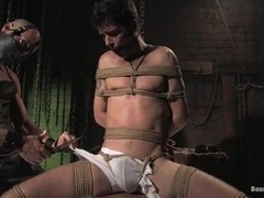 Handsome fairy blows and gets his ass destroyed in BDSM video