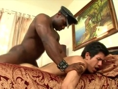 Brunette gay gets his mouth and ass fucked by a muscular black cop