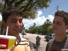 Two crazy homosexuals have ardent sex in the street