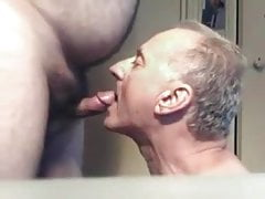 Old man sucks another old fat grandpa small penis