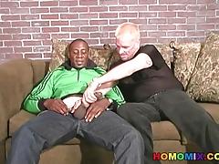 Pierced blonde guy rides a huge black dong