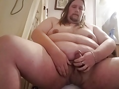 fat gay guy pisses on himself and in his mouth and cums