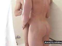 Two hunk armpit lovers having a shower blowjob session