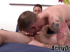 Big dick hunk soldiers barebacking and blowing dick