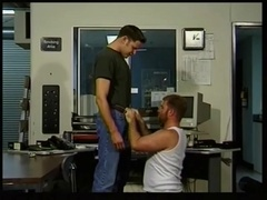 Gay slut gets his butt pounded from behind in an office