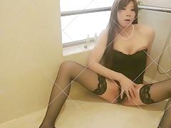Asian Sissy Crossdresser uses Wine Bottle Dildo