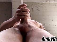 Brunette latin soldier with big dick wanking if hard for fun