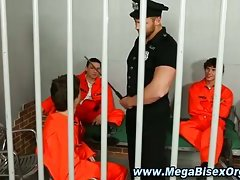 Bisexual prison guard gets hard
