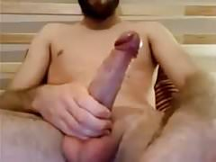 French Str8 Guy with Big Cock & Tight Foreskin cums #124