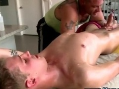 Man-loving masseuse gives bj male-female cock