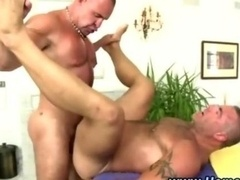 Pumped up gay guy gives straight guy a dick sucking and plus gets rectal