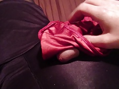 Red silky panty cum