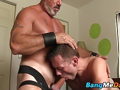 Sucking on the old mans dick then getting assfucked good
