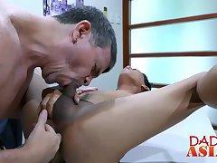 Jap stud Jude satisfies his attractive boss in a office