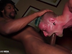 Blue haired punk worships a big black dick