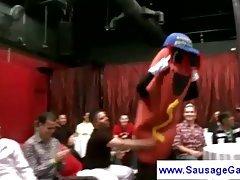 American Boxer striptease at a sausage party