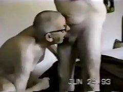 Senior gay mature grandpa sucking on another old man's penis