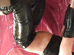 Wet and messy with eggs leather pants and shiny shirt II