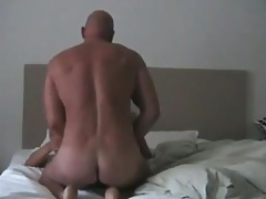 hot daddy fucks asian on his back