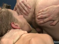 A lewd gay bitch gets beaten and fucked in the locker room