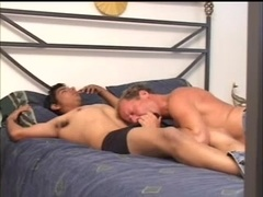Blond poofter gives head to his BF and gets his ass smashed
