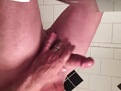 Jerking big cock for cumshot