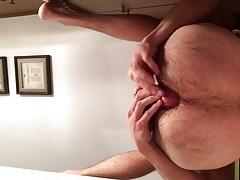 Self fuck til creampie