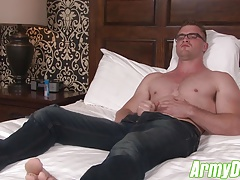Scott shoots a load of hot cum all over his six pack stomach