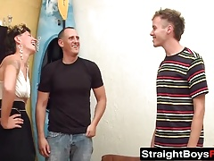 Twinks take turn having fun with a babe
