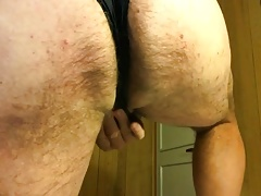 Wanking in my wife's dirty panties and dress