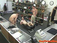 Sporty straight pawnee facialized in pawnshop