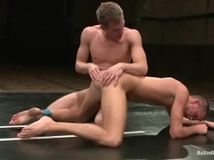 Two fair-haired gays enjoy sucking and riding cocks on a ring