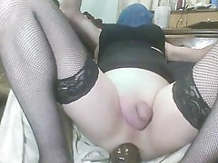 popping my white sissy ass with huge black dildos !!
