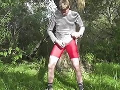 masturbating in red  lycra shorts