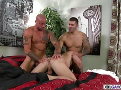Sexy studs banging in their kitchen