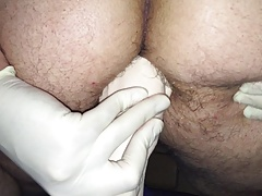 Rubber Fist almost in Asshole Anal Prolapse