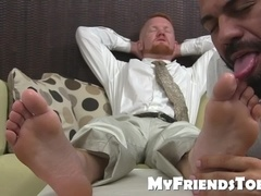 Redhead freak facialized by BBC while sucking toes