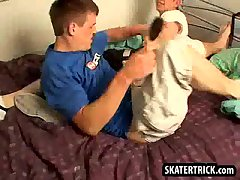 Skater hunk getting his ass whipped and spanked