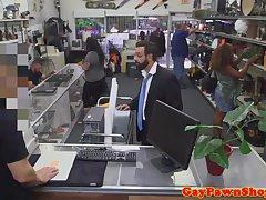 Straight pawnshop amateur fucking for money