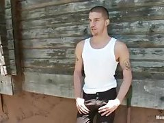 Cute Guy Gets Bondaged & Toyed In A Wood