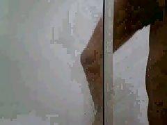Amateur cock wanking in a bath