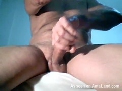 Horny Daddy Stroking His Cock While Watching TV