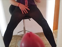 Crossdresser like a girly play with dildo, masturbating +cum