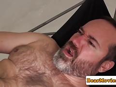 Versatile chubby bears breeding in sex swing