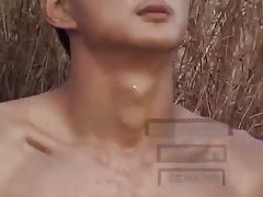 Asian Guy Beating Off Outdoor