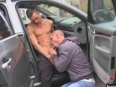 Buddies decide to stop car and have an intercourse