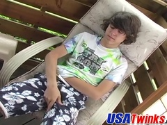 Curly hair twink with big long dick strokes and jerks hard