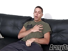 Horny hunk soldier Diego wanking his fat pole hard for jizz